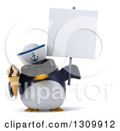 Clipart Of A 3d Penguin Sailor Wearing Sunglasses Holding A Waffle Ice Cream Cone And A Blank Sign Royalty Free Illustration by Julos