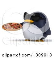 Clipart Of A 3d Penguin Facing Slightly Left Wearing Sunglasses And Holding A Pizza Royalty Free Illustration