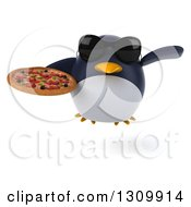 Clipart Of A 3d Penguin Wearing Sunglasses Flying And Holding A Pizza Royalty Free Illustration