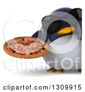 Clipart Of A 3d Penguin Wearing Sunglasses And Holding A Pizza Around A Sign Royalty Free Illustration