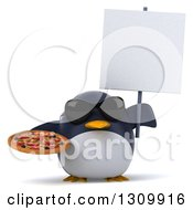 Clipart Of A 3d Penguin Wearing Sunglasses Holding A Pizza And A Blank Sign Royalty Free Illustration