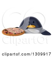 Clipart Of A 3d Penguin Holding A Pizza Over A Sign Royalty Free Illustration