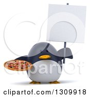 Clipart Of A 3d Penguin Holding A Pizza And A Blank Sign Royalty Free Illustration
