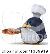Clipart Of A 3d Penguin Chef Facing Slightly Left And Holding A Pizza Royalty Free Illustration