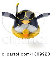 Clipart Of A 3d Penguin Flying And Wearing Snorkel Gear And An Inner Tube Royalty Free Illustration