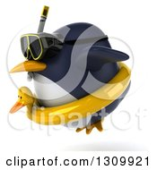 Clipart Of A 3d Penguin Flying To The Left And Wearing Snorkel Gear And An Inner Tube Royalty Free Illustration