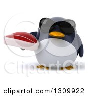 Clipart Of A 3d Penguin Wearing Sunglasses And Holding A Beef Steak Royalty Free Illustration