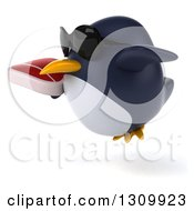 Clipart Of A 3d Penguin Wearing Sunglasses Facing Left Flying And Holding A Beef Steak Royalty Free Illustration