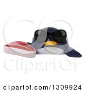 Clipart Of A 3d Penguin Wearing Sunglasses And Holding A Beef Steak Over A Sign Royalty Free Illustration