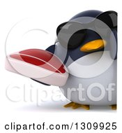 Clipart Of A 3d Penguin Wearing Sunglasses And Holding A Beef Steak Around A Sign Royalty Free Illustration