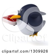 Clipart Of A 3d Penguin Facing Left Flying And Holding A Beef Steak Royalty Free Illustration