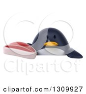 Clipart Of A 3d Penguin Holding A Beef Steak Over A Sign Royalty Free Illustration