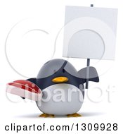 Clipart Of A 3d Penguin Holding A Beef Steak And A Blank Sign Royalty Free Illustration