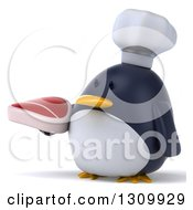 Clipart Of A 3d Penguin Chef Facing Slightly Left And Holding A Beef Steak Royalty Free Illustration