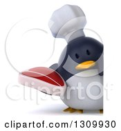 Clipart Of A 3d Penguin Chef Holding A Beef Steak Around A Sign Royalty Free Illustration