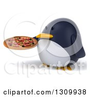 Clipart Of A 3d Penguin Facing Slightly Left And Holding A Pizza Royalty Free Illustration