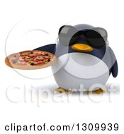 Clipart Of A 3d Penguin Wearing Sunglasses And Holding A Pizza Royalty Free Illustration