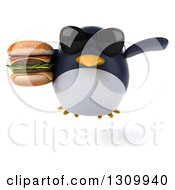 Clipart Of A 3d Penguin Wearing Sunglasses Flying And Holding A Double Cheeseburger Royalty Free Illustration