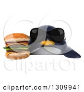 Clipart Of A 3d Penguin Wearing Sunglasses And Holding A Double Cheeseburger Over A Sign Royalty Free Illustration