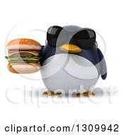 Clipart Of A 3d Penguin Wearing Sunglasses And Holding A Double Cheeseburger Royalty Free Illustration