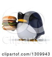 Clipart Of A 3d Penguin Wearing Sunglasses Facing Slightly Left And Holding A Double Cheeseburger Royalty Free Illustration