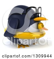 Clipart Of A 3d Bespectacled Penguin Facing Right And Wearing A Duck Inner Tube Royalty Free Illustration