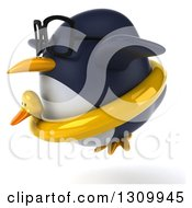 Clipart Of A 3d Bespectacled Penguin Flying Facing Left And Wearing A Duck Inner Tube Royalty Free Illustration