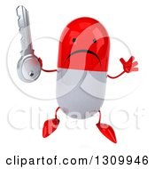 Clipart Of A 3d Unhappy Red And White Pill Character Jumping And Holding A Key Royalty Free Illustration