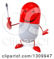 Clipart Of A 3d Happy Red And White Pill Character Shrugging And Holding A Screwdriver Royalty Free Illustration