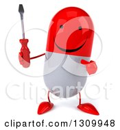 Clipart Of A 3d Happy Red And White Pill Character Holding And Pointing To A Screwdriver Royalty Free Illustration