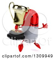 Clipart Of A 3d Happy Red And White Pill Character Facing Slightly Right Jumping And Holding A Trophy Royalty Free Illustration