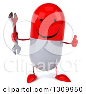 Clipart Of A 3d Happy Red And White Pill Character Holding A Thumb Up And A Wrench Royalty Free Illustration