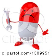 Clipart Of A 3d Unhappy Red And White Pill Character Shrugging And Holding A Wrench Royalty Free Illustration