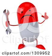 Clipart Of A 3d Unhappy Red And White Pill Character Holding Up A Finger And A Wrench Royalty Free Illustration