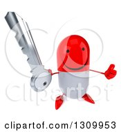 Clipart Of A 3d Happy Red And White Pill Character Holding Up A Thumb And A Key Royalty Free Illustration