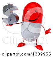 Clipart Of A 3d Happy Red And White Pill Character Shrugging And Holding A Dollar Symbol Royalty Free Illustration