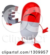Clipart Of A 3d Unhappy Red And White Pill Character Shrugging And Holding A Euro Symbol Royalty Free Illustration