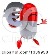 Clipart Of A 3d Unhappy Red And White Pill Character Facing Slightly Right Jumping And Holding A Euro Symbol Royalty Free Illustration