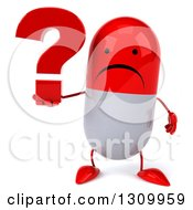 Clipart Of A 3d Unhappy Red And White Pill Character Holding A Question Mark Royalty Free Illustration