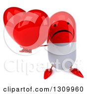 Clipart Of A 3d Unhappy Red And White Pill Character Holding Up A Heart Royalty Free Illustration