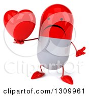 Clipart Of A 3d Unhappy Red And White Pill Character Shrugging And Holding A Heart Royalty Free Illustration