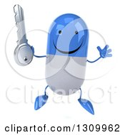Clipart Of A 3d Happy Blue And White Pill Character Jumping And Holding A Key Royalty Free Illustration