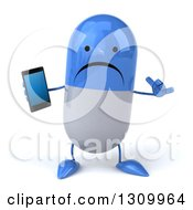 Clipart Of A 3d Unhappy Blue And White Pill Character Holding A Smart Phone And Gesturing Call Me Royalty Free Illustration by Julos