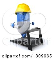 Clipart Of A 3d Happy Blue And White Pill Contractor Character Facing Slightly Right And Running On A Treadmill Royalty Free Illustration