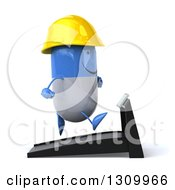 Clipart Of A 3d Happy Blue And White Pill Contractor Character Facing Right And Running On A Treadmill Royalty Free Illustration