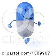 Clipart Of A 3d Happy Blue And White Pill Character Running Slightly To The Right Royalty Free Illustration