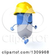 Clipart Of A 3d Happy Blue And White Pill Contractor Character Running Slightly To The Right Royalty Free Illustration