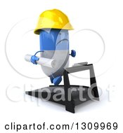 Clipart Of A 3d Unhappy Blue And White Pill Contractor Character Facing Slightly Right And Running On A Treadmill Royalty Free Illustration