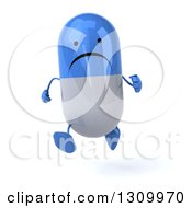 Clipart Of A 3d Unhappy Blue And White Pill Character Running Royalty Free Illustration