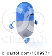 Clipart Of A 3d Unhappy Blue And White Pill Character Running Slightly To The Right Royalty Free Illustration
